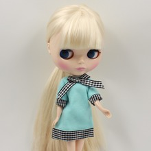 Free shipping blyth doll white Beige straight HAIR with bangs/fringes normal body 1/6 30cm gift toy BL0510