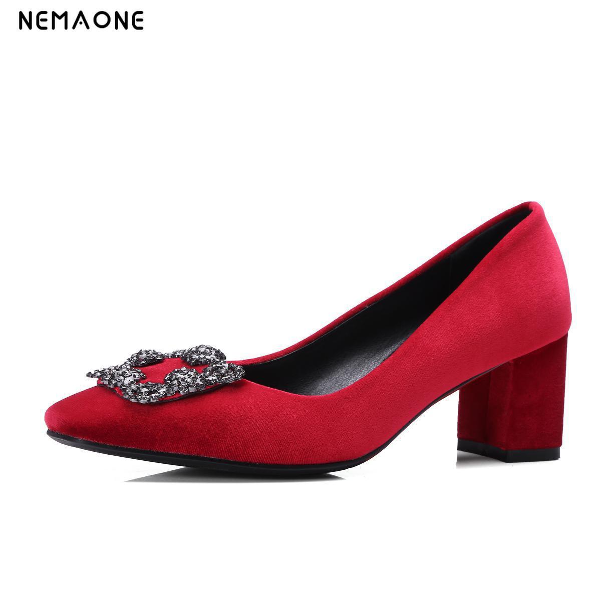 NEMAONE Plus size 34-43 2017 new high quality high heels elegant women pumps square heels party wedding shoes woman<br>
