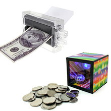 Easy Magic Trick Toys Magician Props Machine For Printing Money + Flash Magic Money Box Maker Fun Toys Party Performance Show