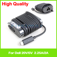 45W 5V 2A 20V 2.25A USB-C type C laptop AC adapter charger HK45NM150 LA45NM150 for Dell Latitude 12 7275 13 7370 XPS 13 9365(China)