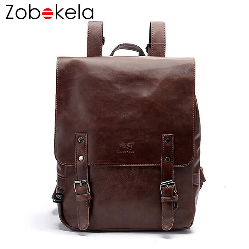 Zobokela Retro men backpacks famous brand men and women school bags for teenagers leather travel bags black leather backpack<br>