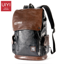 UIYI 2017 new men's backpack PU high quality 14 inch laptop bag for men Color stitching casual rope backpack Male Boy #UYB7035(China)