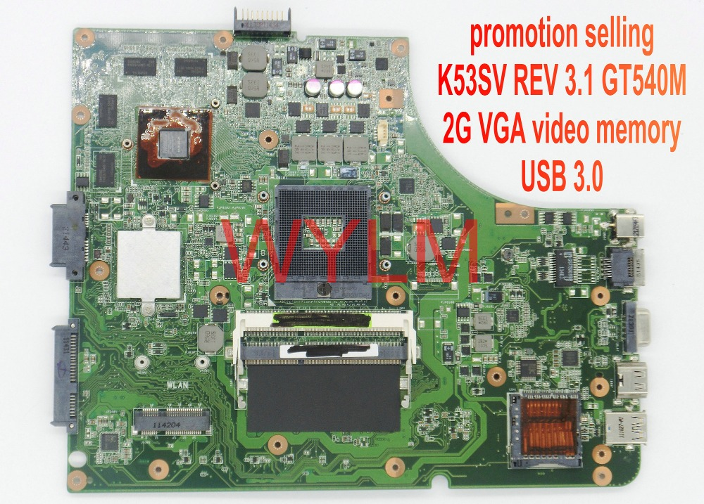 Big promotion original X53S A53S K53SV motherboard mainboard rev 3.1 USB 3.0 GT540M 2G VGA video memory only30pcs  free shipping<br>