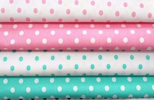 Classic Pink Green Polka Dot 100% cotton twill handwork home decor quilting patchwork DIY chic fabric(China)
