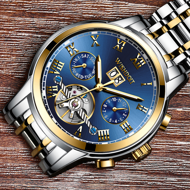 relogio masculino WISHDOIT Mens Watches Top Brands Luxury Fashion Business Mechanical Watch Mens Sports Waterproof Watch<br>