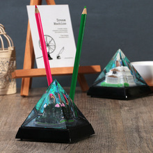 Famous attractions series pyramid tower pen holder liquid oil hourglass pagoda decoration with flash lamp music/model gift
