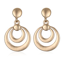 Brighton New Arrival Simple Alloy Gold Silver Plated Double Round Circle Drop Earrings Women Vintage Brincos Charms Bijoux
