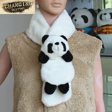 2017 Autumn Winter Children's scarf warm winter Panda kid child boys girls Wool blend black white accessory cute animal Scarves(China)
