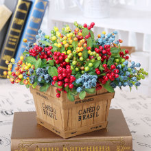 5PCS/lot DIY Mini Fake Fruit Glass Berries Artificial Pomegranate Cherry Bouquet for Wedding Home Party Decorative 4 Colors(China)