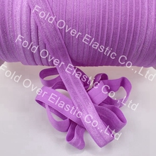 "New Arrive!!! super quality solid fold over elastic(a5259 lilac), 5/8"" shinny elastic ribbon, custom print is welcomed"