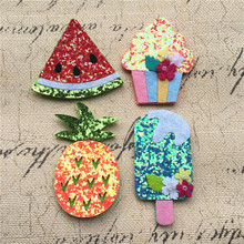 30PCS Bling Felt Wool Fabric Watermelon Ice Cream Cup Cake Pinapple Food Fruit Button Patch Sticker Glitter Fabric Button