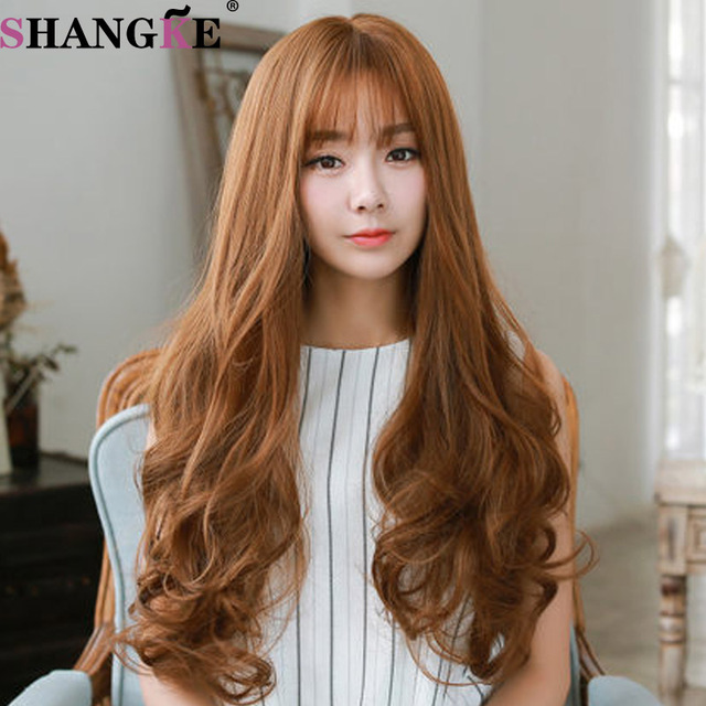 26inch long wig brown Synthetic wigs Fiber Heat Resistant with neat bangs Cheap Hair Wigs For beautiful Women Wig<br><br>Aliexpress