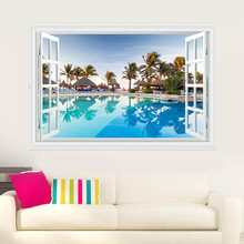 Romantic Coconut Tree Ocean view Wall Sticker Bedroom Living Room 3D Stereoscopic European Landscape Fashion Poster Sticker(China)