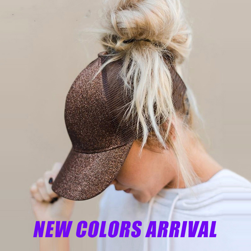 SIMPLESHOW Glitter Ponytail Baseball Cap Women Snapback Hip Hop Caps Female Sequins Shine Summer Hats Mesh Outdoor Hat Bone(China)