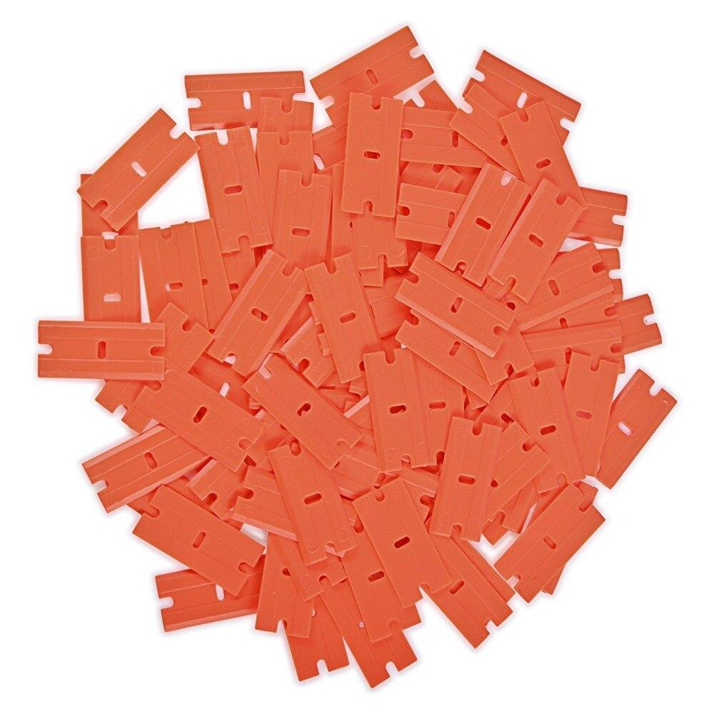 100Pcs DIY Plastic Double Edged Razor Blades /& 2Pcs Scraper Removal Car Window