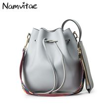 Namvitae Women Leather Bucket Crossbody Bag Retro Drawstring Bucket Tote Bag With Shoulder Strap Small Purse Handbags for Women