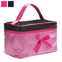 Lowest Price Women's Bag Square Bow Stripe Cosmetic Bag Big Lingerie Bra Underwear Dot Bags Travel Bag toiletry kits(China)