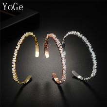 YoGe B0378 Fashion new AAA cubic zirconia Baguette thin cuff bangle copper base with colour,3 colours(China)