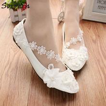 Sorbern White Flat Heel Women Shoes Flower Lace Wedding Shoes 3Cm 5Cm 8Cm Flats  Ladies Bridal Shoes Cheap Bridesmaid Shoes a6debbe65b3b