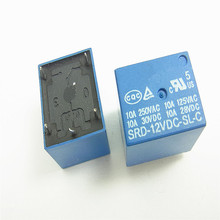Free Shipping 5pcs 12V Relay 5 PIN Conversion Type 250VAC SRD-12VDC-SL-C SRD-12V SRD-12VDC SRD-12VDC-SL 10A T73 Power Relay