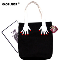 EXCELSIOR Canvas Daily Zipper Shopping Bag Large Tote Women Handbags Foldable Hand Pattern Ladies Single Shoulder Beach Bags