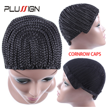Horseshoe Cornrow Cap for Sew Ins Removable Braided Wig Cap Crochet Weave Cap for Making A Wig 3Pcs Black Color Free Size(China)