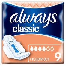 Women's Sanitary Pads Strip Always Classic Normal 1 size 9 pcs Sanitary Pads Feminine hygiene products