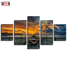Unframed 5 Pcs Large Seaview With Ship Canvas Print Painting Wall Pictures For Bedroom Pintura Em Tela Cuadros Decoracion