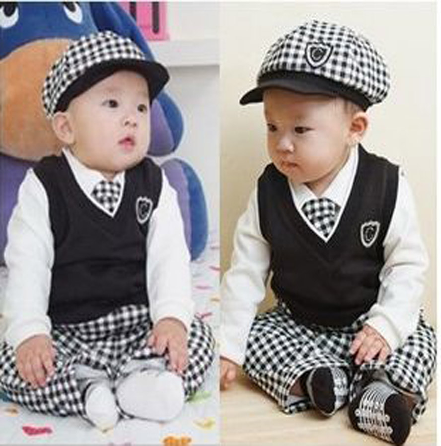 Retail hot selling cotton gentleman plaid long-sleeved boy suit children clothing 1 sets=5 pcs baby wear YAZ047<br><br>Aliexpress