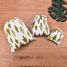 New 2017 Drawstring Packaging Christmas TreeBags Jewelry Pouches Christmas Valentines Gift Bags Candy Gift Bags(China)
