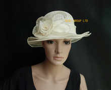 NEW Ivory cream Small Sinamay  church dress Hat w/sinamay rose for wedding,derby,kentucky derby.