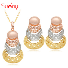Sunny Jewelry Unique Jewelry Sets Triple Colors Women Necklace Earrings Pendant High Quality Hollow Out Ant Round For Party Gift