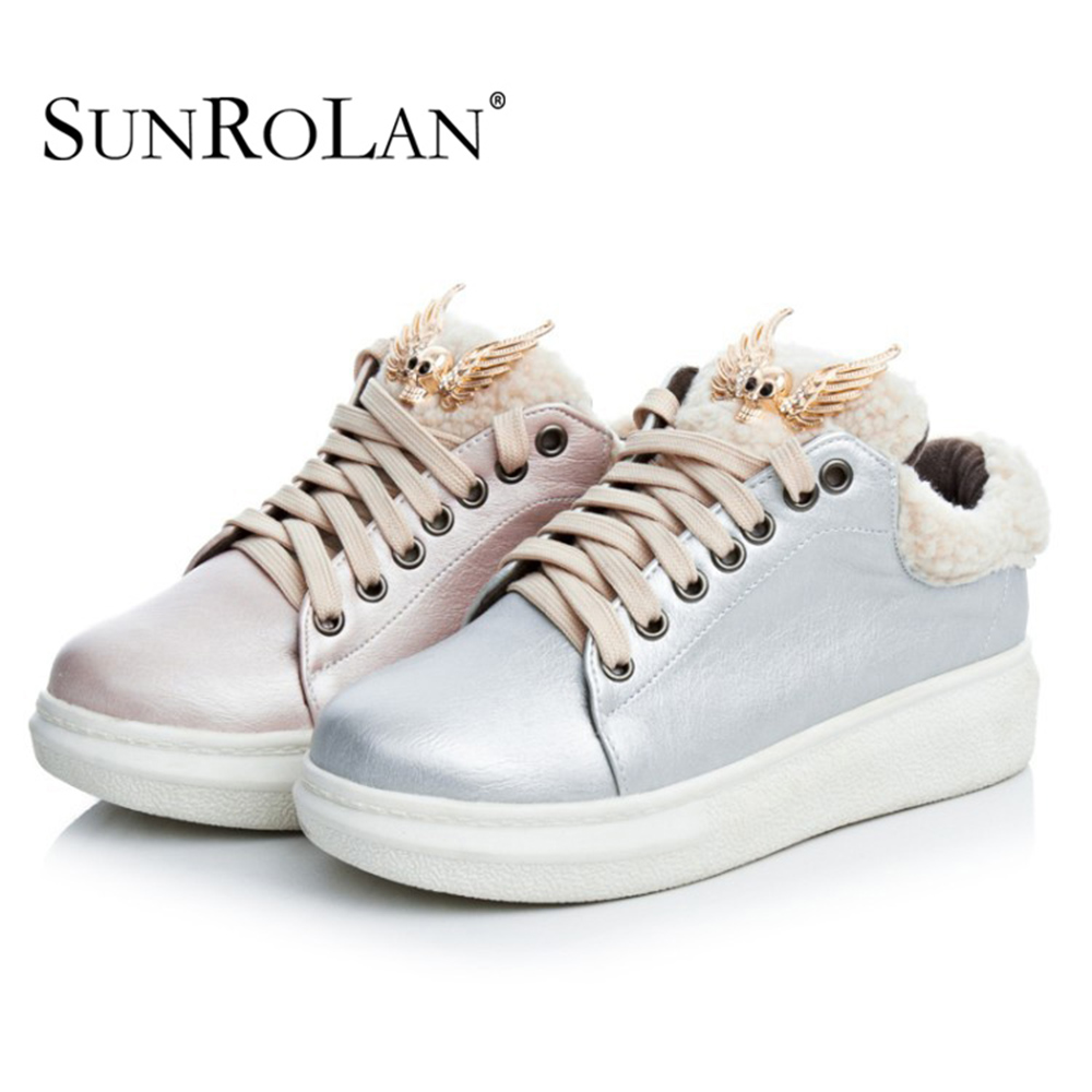 Sunrolan 2017 Women Fashion Winter Leather Warm Fur-Lined Low Ankle Lace Up Shoes Winter Combat Sneaker 18CJL(600)<br>