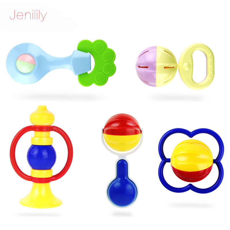 Jenilily Baby Rattles Toys Baby Toys for Children Mobiles Plastic Toy Horn Bed 5pcs/set Musicais Early Education Kids Rattle(China (Mainland))