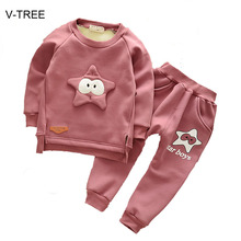 Long sleeve two-piece baby's set Autumn and winter five-dimensional stars plus velvet boys and girls suit Baby clothing