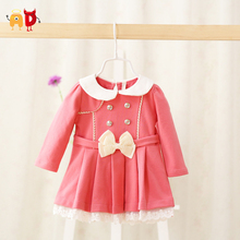 AD 4-24M Winter Baby Girls Dress 95% Cotton Quality Comfortable Baby Dresses Bow Decor Formal Girl Dress Children's Clothing
