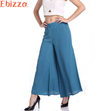 Ebizza Cotton Elastic Waist Wide Leg Pants Women Casual Trousers Linen Pants Ladies Loose Blue Army Green Trousers 2017 Summer