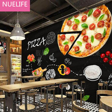 0.53x10m Pizza shop wallpaper western restaurant fast food restaurant fried chicken burger shop hot dog personality retro murals(China)