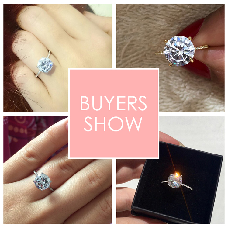 19 Classic Luxury Real Solid 925 Sterling Silver Ring 3Ct 10 Hearts Arrows Zircon Wedding Jewelry Rings Engagement For Women 3