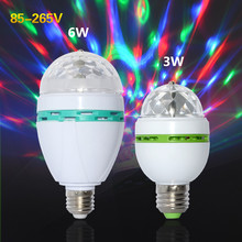 RGB Stage Light Led E27 Bulb 3W 6W Lamp 110V 220V Auto Rotating Stage Lights AC 85-265V Projector For DJ Party Holiday Light