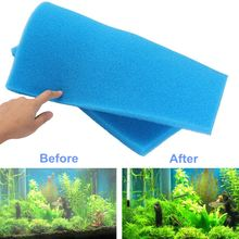Biochemical Cotton Aquarium Fish Tank Pond Filter Sponge Cleaner 50*50*2cm Blue/Yellow Aquatic Tank Filter Accessories Tools(China)
