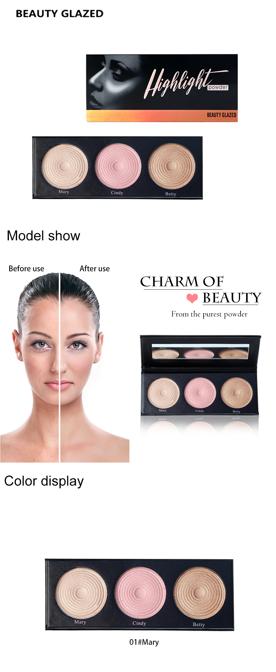 BEAUTY GLAZED Brand Highlight Pressed Illuminating Powder Easy To Wear Concealer Powder Natural Compact Powder 3 Colors In 1 1