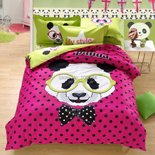 king size kids panda bedding,mattress cover fitted cartoon bedding,500TC Cotton twin queen king size cartoon panda duvet cover