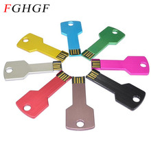 FGHGF Colorful Metal Key shape usb flash drive 4GB 8GB 16GB pen drive pendrive U disk Thumb memory stick(China)