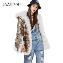 JAZZEVAR New Winter High Fashion Trendy women's futuristic designs Edgy silver down Jacket luxurious lamb fur hooded coat parka(China)