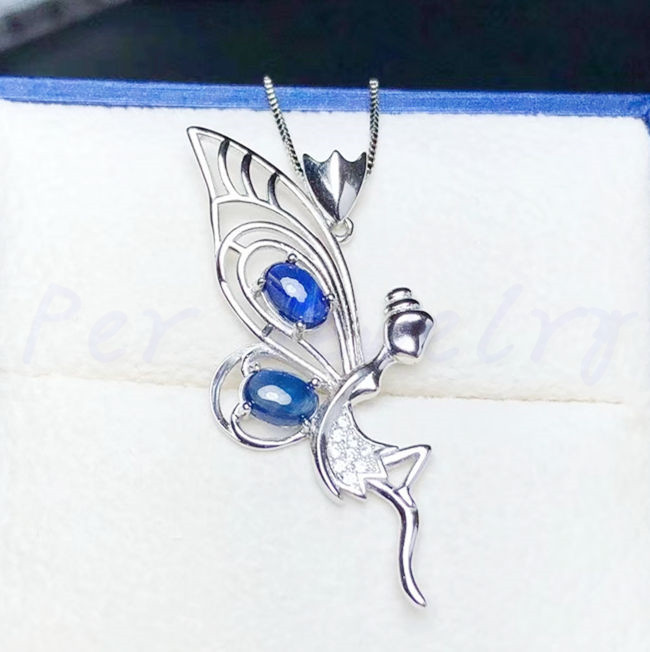 Natural sapphire necklace pendant Free shipping 925 sterling silver 0.6ct*2pcs gemstone Fairy style Fine jewelry #BL1892801