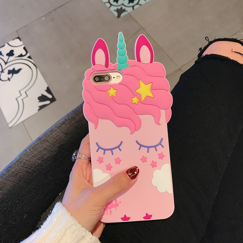 3D Cartoon Soft Silicone Phone Case For iPhone 5 S SE 6 6S 7 8 Plus X XR XS Max Case for iphone 7 Pink Unicorn Animal Back Cover (10)