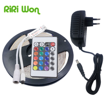 RGB LED Strip Light Waterproof 5M SMD2835 LED Strip Ribbon Flexible dc 12V LED Tape Diode with ir Controller 2A power adapter EU