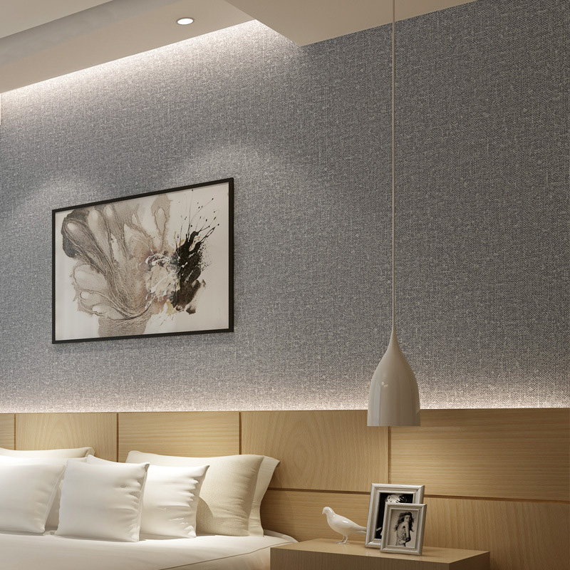 Home Improvement Plain Solid Color Imitation Straw Linen Cloth Wallpaper Modern Living Room Bedroom PVC Wallpaper Roll Size Grey<br>
