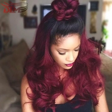 Ponytail Hot red wave lace front wig synthetic loose wavy glueless wig with natural root captivating bun hairstyle Wine red wigs
